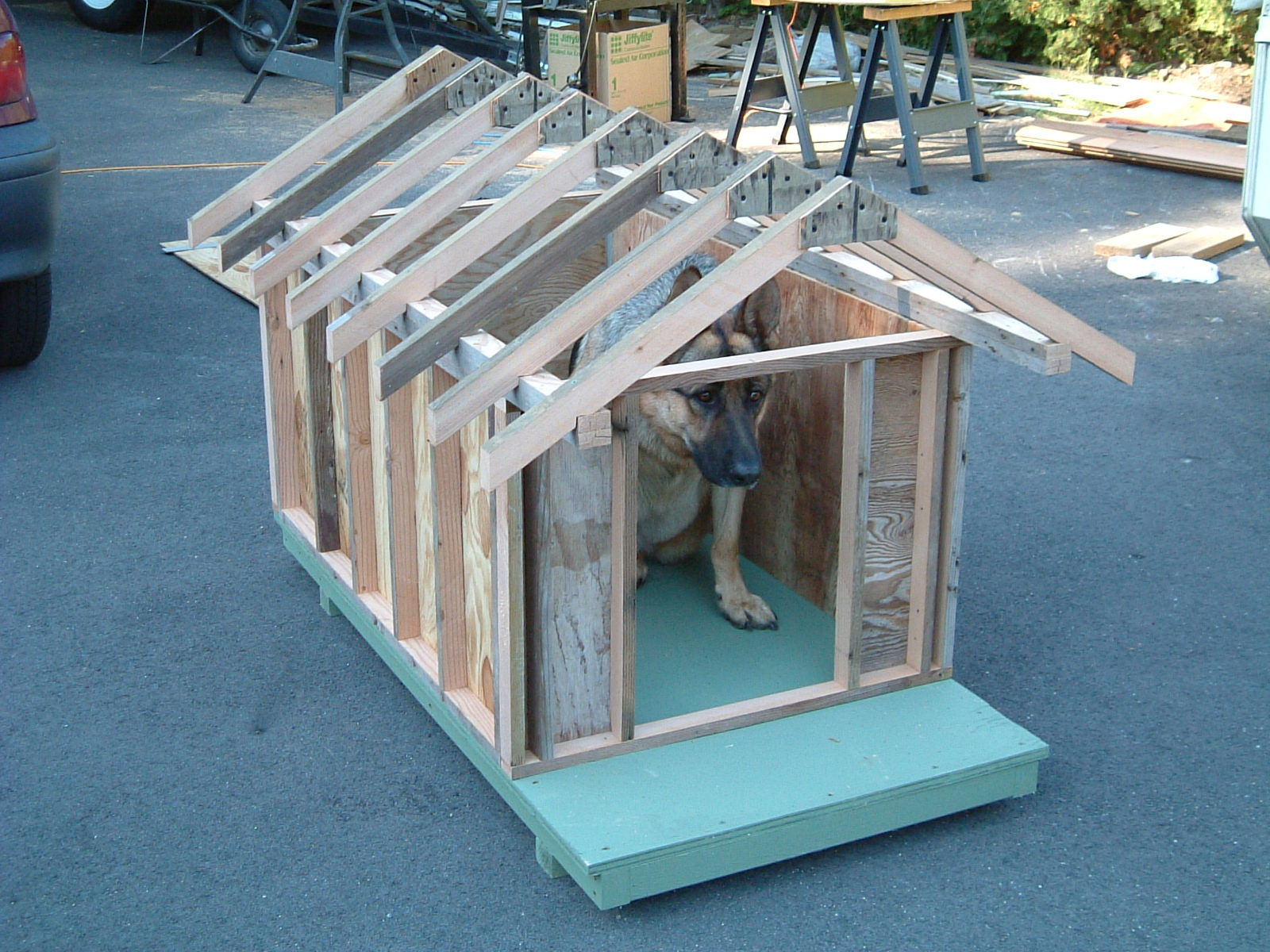 Build Dog House Roof Additionally How To Build A Rabbit Hutch Further